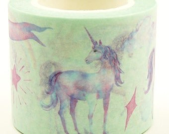 Unicorn - Japanese Washi Masking Tape - 30mm wide - 11 yard