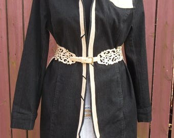 Black Denim Duster Jacket with Tan Suede-Altered Upcycled Gypsy Clothing-Size 14