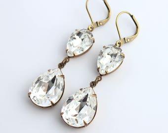 Swarovski Crystal earrings teardrop earrings, double crystal earring, Swarovski earring, bridal jewelry, wedding jewelry, crystal earrings
