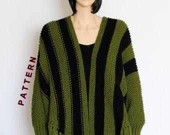 Knit Poncho cape pattern Shawl pattern Striped Knitted poncho  Sleeved Poncho pattern