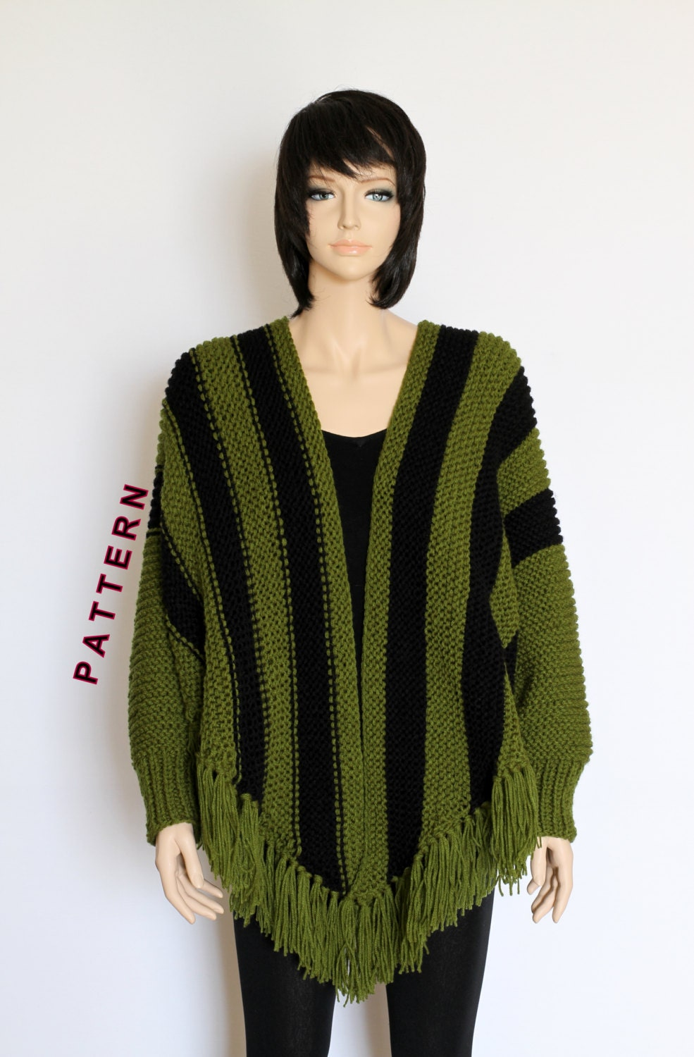 Beginner Knitting Poncho : Knit poncho cape pattern shawl striped knitted
