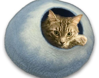 FREE SHIP Cat Cave by Walking Palm - LARGE - Sky Blue and White - ships now from usa / Cat Bed / Pet Bed / Hand Felted Wool