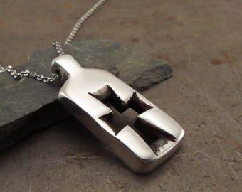 Modern Christian Cross  Pendant Necklace Sterling Silver Handmade Jewelry for Men or Women