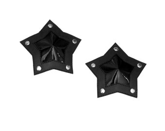 Black PVC Star Shaped Pasties With Studs Goth Burlesque Nippies
