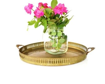 Vintage Brass Tray Brass Gallery Tray Brass Serving Tray Round Tray with Handles Reticulated Tray