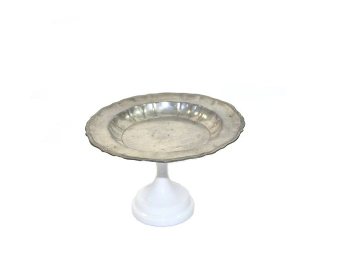 Featured listing image: Vintage Silver Cake Plate Pewter Cake Plate Silver Cake Stand Silver Cupcake Stand Silver and White Cake Plate