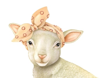 Little Lamb illustration print by Fiammetta Dogi