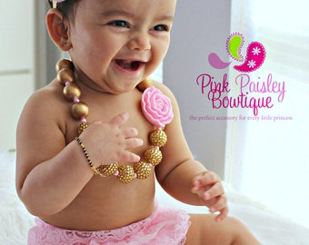 Cake smash outfit - Ruffle Diaper Cover- 6, 8, 9 month Sitter Photos - Baby Girl Photo Outfit- Pink & Gold Outfit-Ruffle Baby Diaper cover