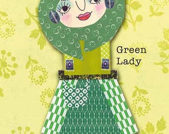 Green Lady - postcard with one of my Paper Ladies