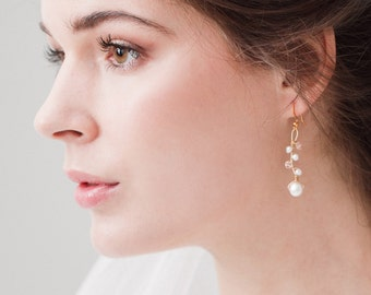 Gold blush earrings,  Gold blush wedding earrings, Gold blush bridal earrings