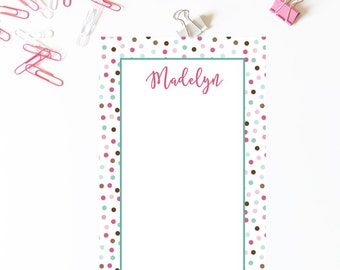 Polka Dots Confetti Notepad . Personalized Notepad . School Notepad . Office Notepad . Preppy  Notepad . Mom's Notepad . Teacher Notepad