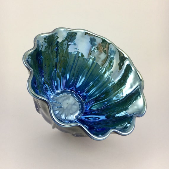 Hand Blown Glass Bowl - Blue Green Luster Clamshell Bubble Bowl Form by Jonathan Winfisky