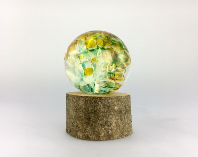 Featured listing image: Large Glass Marble and Wood Stand by Jonathan Winfisky - Paperweight