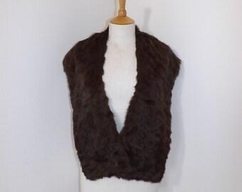Vintage 1950s real squirrel rabbit fur stole shrug wrap brown