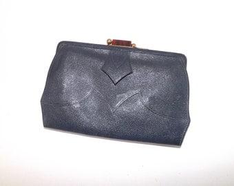 Vintage 1940s WW2 wartime navy blue leather clutch handbag purse bag