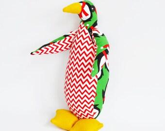 Prancer the Penguin - Children's handmade soft cuddly toy - Christmas