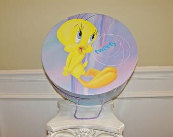 "Vintage Hat Box 15"" x 7"" Tweety Bird Cartoon makes Colorful Storage or Decor"