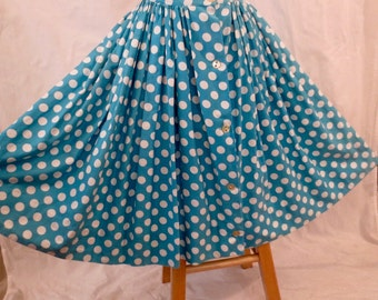 POLKA DOT vintage full skirt - Sunset Strip label - blue white cotton sz XS