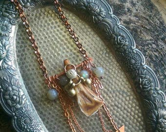 Vagabond Tribal Fusion Shamanic Boho Labradorite crystal, Bone and Copper Necklace