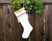 Pendleton Wool Christmas Stocking with Yellow and Red Stripes and Fringe, White Pendleton Stocking, Xmas Stocking, Leather loop