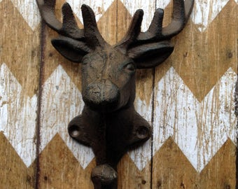Cast Iron Deer Head Wall Hook Stag Elk Coat Hook Hanger Rack  Hunting Lodge, Cabin , Man Cave, Decor, Gift for Hunters 8 Point Antlers