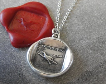 I Defy - Fearless Eagle Wax Seal Necklace - antique wax seal charm jewelry with Spanish No Fear motto by RQP Studio