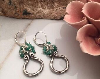 Emerald - Sterling Silver Earrings - 5554