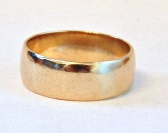 Vintage 9K Yellow Gold Wide Band Ring, .26 Inches, Cigar Band, Wedding Band