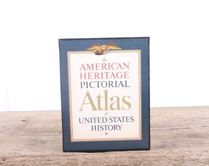 1966 American Heritage Pictorial Atlas of United States History / Vintage Americana Coffee Table Book / Antique American History Unique Book