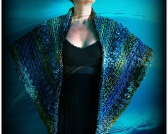 Blue Crochet Triangle Shawl,Green Scarf,Brown Wrap,Boho Wrap,Hippie Shawl,Gypsy Scarf,Multi Colored Yarn,One Size,Women's Clothes,Bulky,OOAK