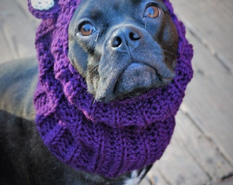 Plum Bear Dog Snood MADE TO ORDER