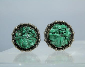 Vintage Screw Back Chinese Carved Malachite and Sterling Silver Earrings by Sung Well carved Flower Design and with an Ornate Setting