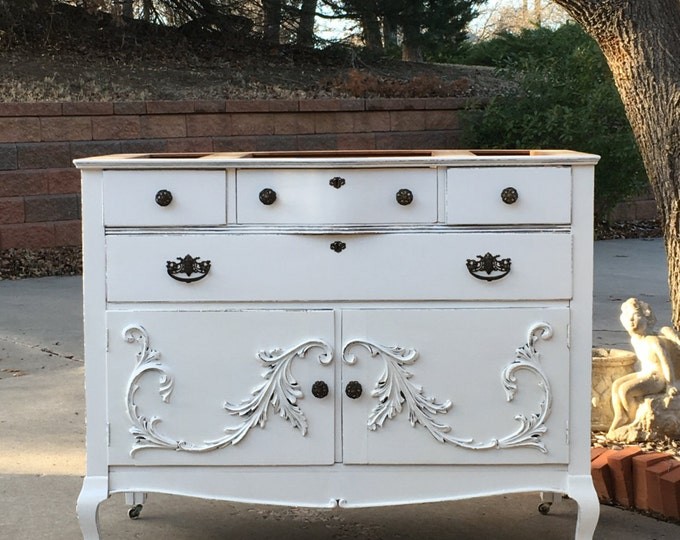 Bathroom Vanity Custom Converted TO ORDER From Antique Dresser Painted Dresser Shabby Chic Dresser