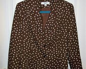 RESERVED for K Johnson Vintage Ladies Brown & White Polka Dot Blazer by Le Suit Size 14 Only 9 USD