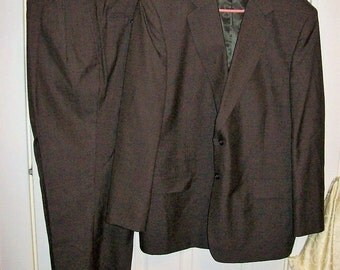 Vintage Mens Brown Wool Microcheck Suit by Jeffrey Banks Couture 48 R Only 23 USD