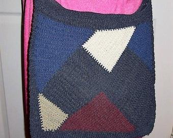 Vintage Ladies Navy Blue Color Block Woven Cross Body Shoulder Bag Only 9 USD