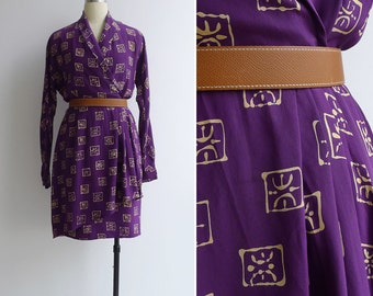Vintage 80's 'Jones New York' Chinese Seal Print Silk Wrap Dress S or M