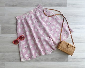 20% OFF (Code In Shop) - Vintage 80's Pink Hearts Printed High Waist Culotte Skirt Shorts XS