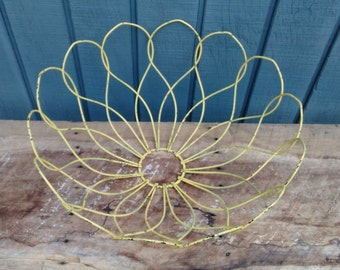 Vintage Yellow Metal Flower Bowl - Centerpiece Bowl