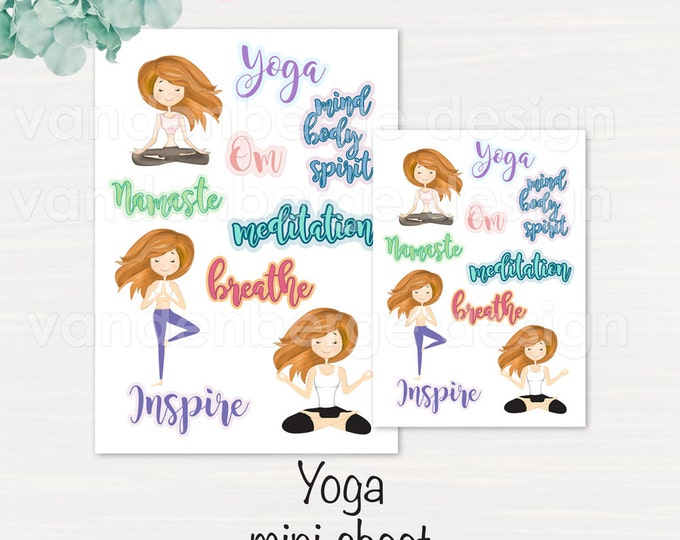 Yoga  Planner Sticker Sheet- 10 count -Perfect for all planners!