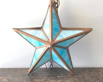 Rare Vintage Aqua Blue Slag Glass Star Hanging Lamp