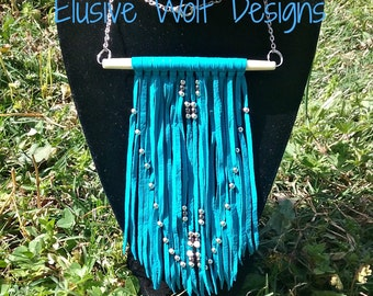 Beaded Leather Fringe Necklace - Leather Necklaces - Tribal Necklaces - Boho Jewelry - Trending Jewelry - Elusive Wolf