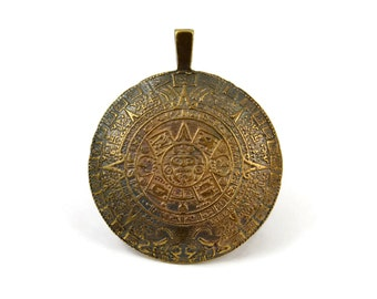 Mykonos Mayan Aztec Calendar Pendant - Antique Brass - 45mm