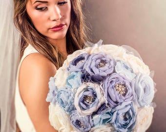 Blue and Ivory  Bouquet - Bridal Fabric Bouquet - Bridal Brooch Bouquet, Wedding Bouquet, Fabric Flower Bouquet, Handmade Bridal Bouquet,