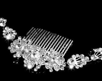 Bridal Rhinestone Comb, Crystal Rhinestone Flower Hair Comb, Bridal Wedding Crystal Hair Accessory, Veil attachment, Wedding Hair Comb