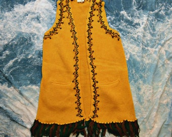 Vintage 80s Fringe Geometric Knitted Yellow Hippie Vest