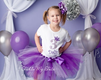 Purple Princess Birthday Tutu Outfit-Purple Princess Party Tutu Set-Purple Princess Party Outfit- *Bow NOT Included*