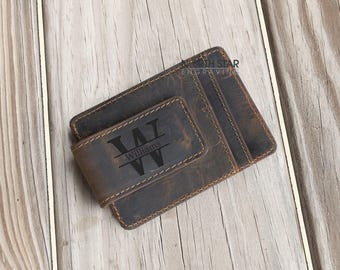 Fathers day gift, Mens Leather Money Clip, Mens Personalized, Gifts for Him, Husband gift, Gifts for Dad, Father Daughter gift, Mens Wallet