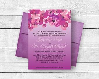 Ombre Wedding Invitation Suite Purple Lavender Pansy Floral
