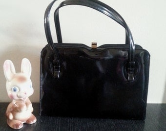 Theodor of California purse in black patent leather vintage 60s